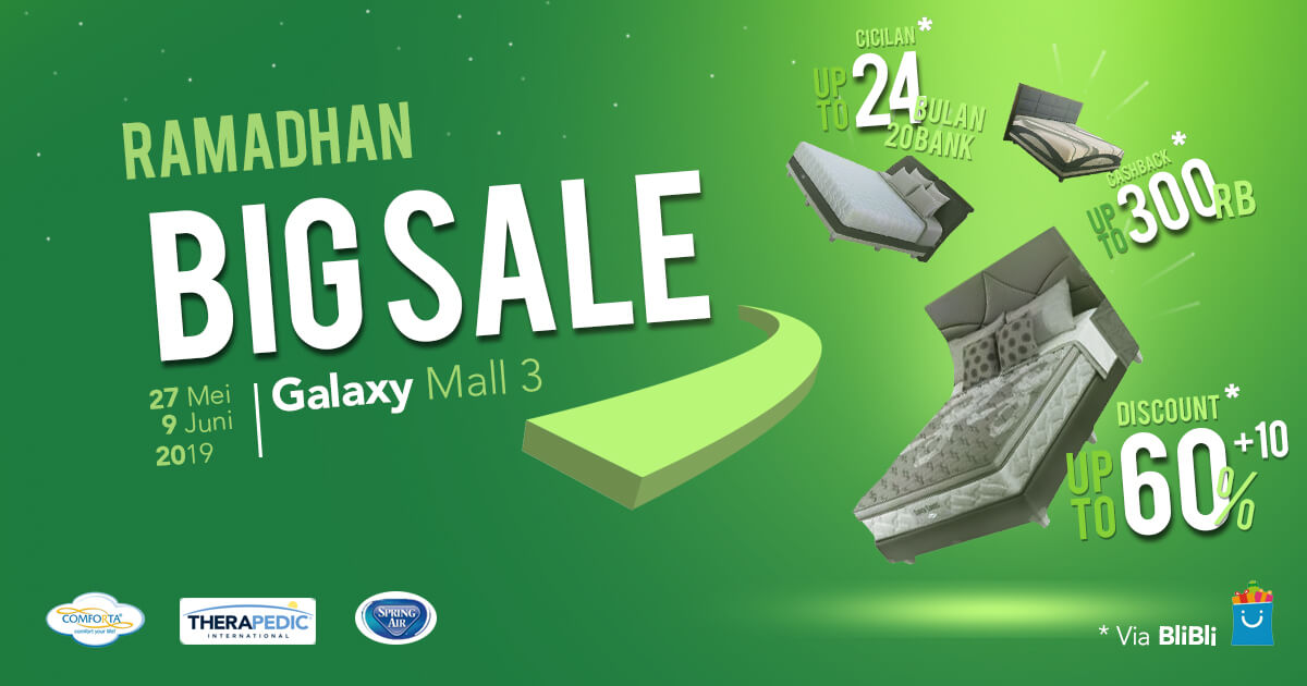 Ramadan Sale Spring Bed Therapedic, Comforta dan Spring Air Galaxy Mall 3
