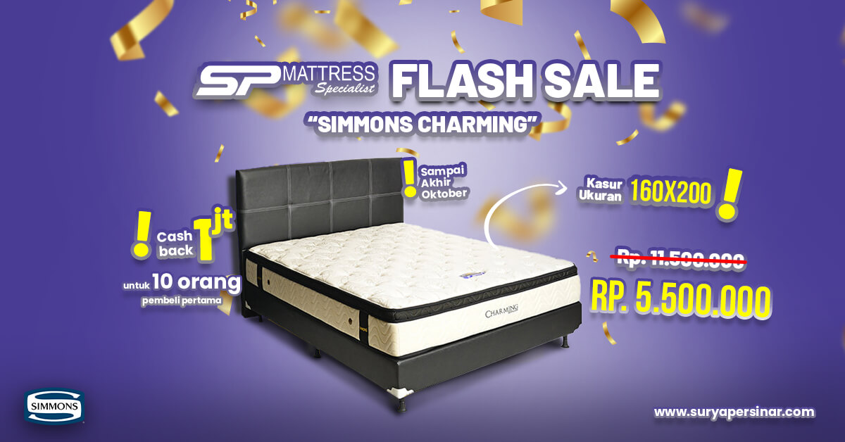 Flash Sale Oktober, Cashback Pembelian Simmons Charming